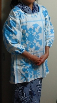 ハワイキルト割烹着+絞り浴衣_前.JPG